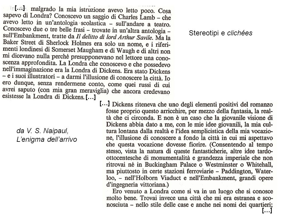 Stereotipi e clichées da V. S. Naipaul, L'enigma dell'arrivo […] […]